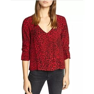 Sanctuary Blouse Farrah Printed Hi Low XL Red
